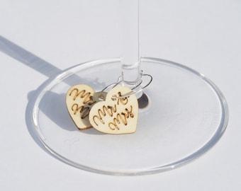 Mr & Mrs Wine Glass Charms
