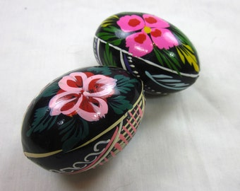 Vintage Easter Eggs, Ukranian Painted Wood