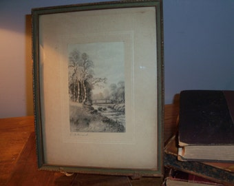 Antique Framed Signed Drawing Stream Bridge River Forest Wall Art