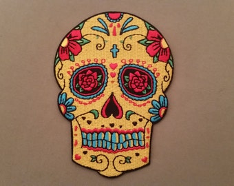 dia de los muertos mexican skull embroidered day of the dead patch