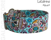 "sugar skulls dog collar ""La Catrina blue"", day of the dead, turqouise, martingale or buckle collar; wide 1.2""- 2"", S -XL, greyhound collar"