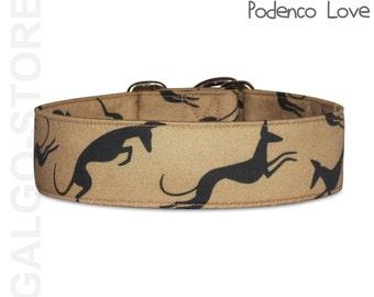 "adjustable dog collar *podenco love*, custom, handmade, Martingale, buckle or ID tag collar. greyhound collar, wide 1.6"" to 2""; size S- XL"