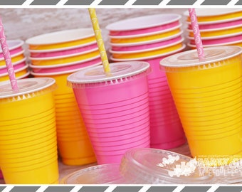Pink Lemonade Party Cups-Birthday Party-Set of 12