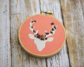 Floral Embroidery, Deer Embroidery, Embroidery Decor, Nursery Decor, Office Decor, Embroidery Hoop, Deer, Needlepoint, Coral, Baby Shower