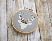Floral Embroidery, Deer Embroidery, Embroidery Decor, Nursery Decor, Office Decor, Baby Room, Deer, Needlepoint, Gray, Grey, Baby Shower