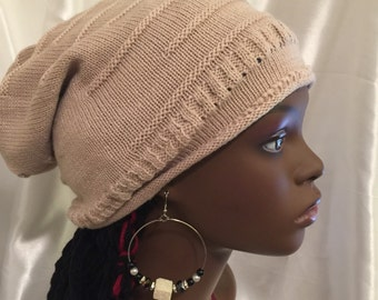 Satin Lined Hat-Cream Slouch Beanie