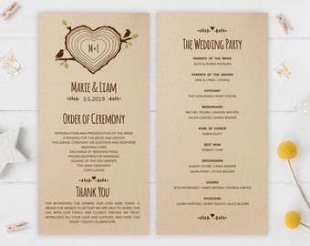 Kraft wedding programs PRINTED | Heart shaped tree stump wedding programs | Rustic programs for woodsy, winery, country wedding