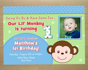 Monkey Birthday Invitation - Digital File (Printing Available)