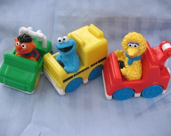 Sesame Street 1993 Tyco Playtime Jim Henson Productions famous characters-Big Bird, Ernie and Cookie Monster