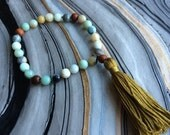 Multi Amazonite and Wood Hand Mala Prayer Beads with Cotton Tassel