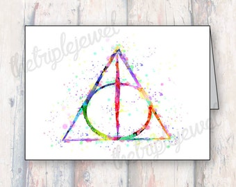 Deathly Hallows Note Cards, Greeting Cards, Harry Potter, Geekery, Splatter, Watercolor, Digital Art, Inspiration, Birthday Card