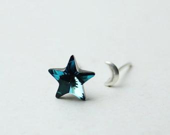 moon earrings,crescent moon earrings,Moon and star earrings,Star earrings,ocean blue Swarovski stud earrings,sterling silver,dainty earrings