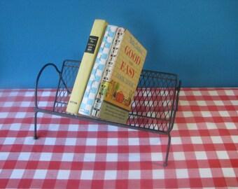 Mid Century Metal Book Rack - Desktop Rack - Mesh - Tilting - Vintage 1960's