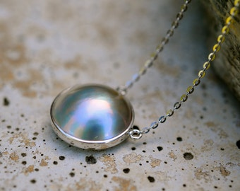 gorgeous silver grey mabe pearl pendant necklace, grey mabe pearl pendant in sterling silver settings and delicate pretty chain