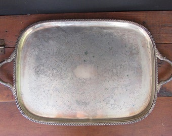 Large Silver Plate Tray Vintage Wedding Decor