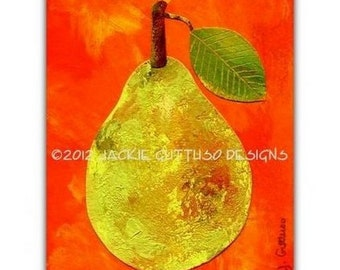 "Pear art, 5 x 7"" giclee print, Kitchen art, Print of acrylic pear painting, Dining room art, Fruit collage, Food art print, Fruit wall art"