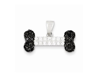 Sterling Silver Black & Clear CZ Dog Bone Pendant