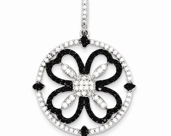 Sterling Silver Black and White CZ Pendant