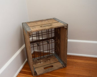 Wooden Dairy Crate, Milk Crate, Metal,