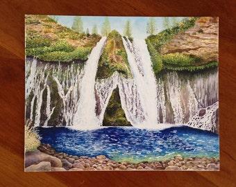 Burney Falls Archival Print - Watercolor Painting Print