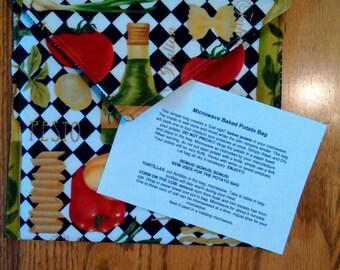 "Handmade - Microwave Potato Baker Bag/Hot Pad ""Pasta"" Print."