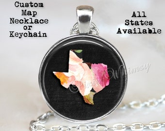 CUSTOM STATE Map Necklace, State Map Pendant, State Map Necklace, Home State Map, Floral Watercolor, Custom Map Necklace, Map Keychain