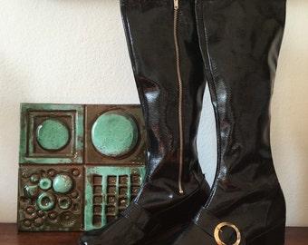 60s black vinyl gogo boots * 7 * 37 * 4.5