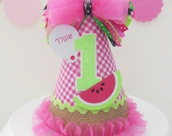 Watermelon Picnic Birthday Party Hat - Pink Gingham, Burlap, Lime Green, Black - Personalized