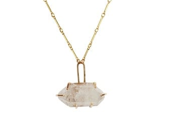 Gold Quartz Necklace #2, Raw Crystal, Crystals, Quartz Crystal Necklace, Gold Crystal Necklace, Crystal Point Necklace, One of a Kind