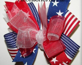 Patriotic Flag Hair Bow Red White Blue USA Stars Baby Girls Toddler Accessories Little Miss USA Pageant Memorial Day 4th of July Photo Prop