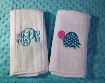 Set of 2 Burp Cloths Turtle and Monogram
