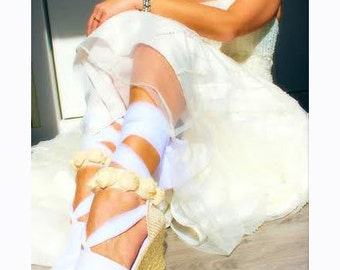 SWAN Espadrille Wedge Wedding Lace Up