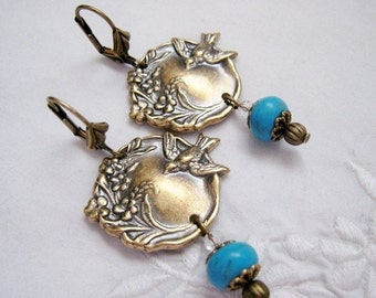 SALE Art Nouveau Victorian Vintage Style Bird Flower Dangle Earrings Blue Turquoise Bead Earrings Ox Antique Brass Lever Back Nature
