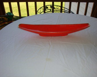 California Original pottery Oblong orange bowl with gold trim 1960's
