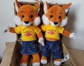Schwabisch Hall Fox, Boy and Girl fox, souvenir, Schwäbisch Hall Plüsch Fuchs
