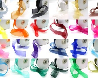 "50 Yard Sheer Organza Ribbon Rolls in 24 Colors - Select Size: 3/8"", 1/2"", 5/8"", 7/8"", 1"", and 1 1/2"""
