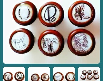 Knobs American Western Cowgirl Drawer Pulls Set of 6. or Buy Individually.Spirit Girl, Boots, Saddle, Quirt, Horseshoe Cabinet Handles