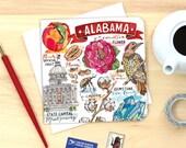 Alabama notecard. Single or Pack of 4.
