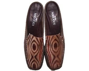 Vintage 90's Women's Size 8 Sesto Meucci Designer High End Pony Hair Italian Leather Shoes, Calf Hair Mules, Size 8 Mules, OP Art Slides