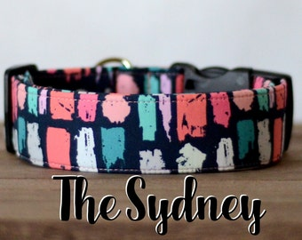 "Colorful Geometric Abstract Girly Dog Collar ""The Sydney"""