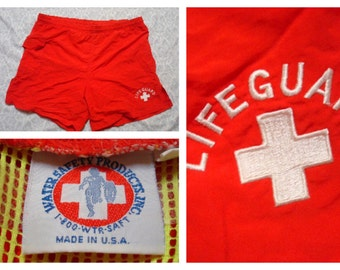 Vintage Retro Men's Red Lifeguard Swimsuit Trunks Made in USA Medium