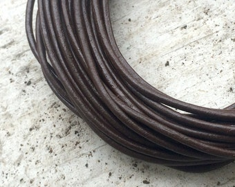Brown Leather Jewelry Cord - 2mm - 5 yard - Jewelry Beading Making Supplies
