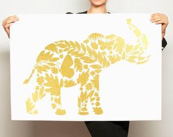 REAL Gold Foil Elephant Print Golden Floral Elephant Artwork Minimal Minimalist Art Gold Leaf Scandinavian Art Modern Nursery Art