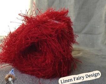100% Linen Eyelash Yarn Red - Linen yarn skein 50 meters Jewelry Handicratf Art
