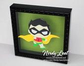 Cutie Robin Framed in 8x8 Shadowbox