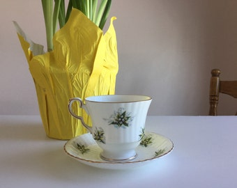 Vintage Lily of the Valley Tea Cup and Saucer - Royal Windsor Bone China Tea Cup and Saucer