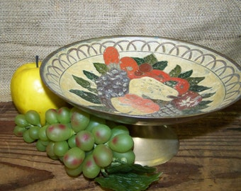 Painted Brass Pedestal Bowl Brass Fruit Bowl