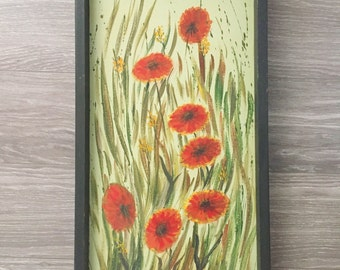 Floral Painting, Vintage Painting, Red Flowers Art, Poppy Painting, 1970s Art, Original Art, Gallery Wall