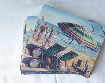 Vintage Beach Themed Note Cards Set of 12 Blank