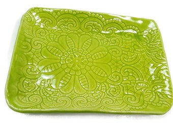 Lime Green Dish, Chartreuse Lace Ceramic Dish, Ceramic Candy Dish, Green Pottery, Dessert Dish, Spring Kitchen Decor, Lime Green Kitchen